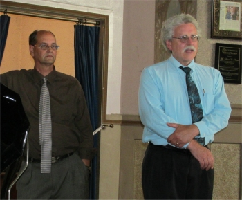 Larry Paarlberg (left), president of the International Antique Phonograph Society, and Tim McCormick (right), director of the General Lew Wallace Study & Museum